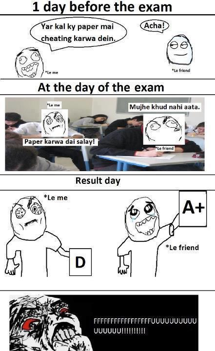 One day before exams cheating plan ~ funny image
