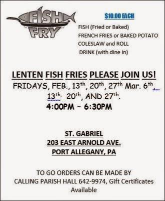 3-6 Thru 3-27 Lenten Fish Fry St. Gabriel