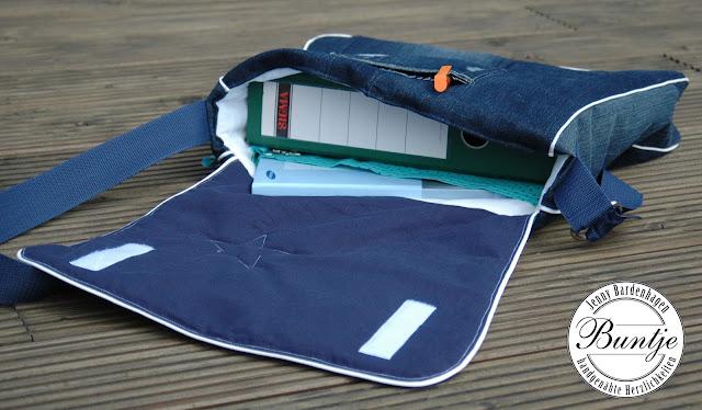 Tasche Umhängetasche Messengerbag Jeans mint blau weiß Stern handmade Taschenspieler Farbenmix Bube