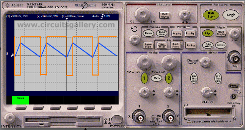 Triangulr+Wave+Generator+circuit+using+op+amp+simulated+output+waveform+using+multisim Triangular wave generator using Op Amp 741, circuit working and simulated output waveform