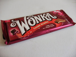 nestle's wonka creme brulee bar contains milk chocolate and vanilla creme with a caramel crunch.