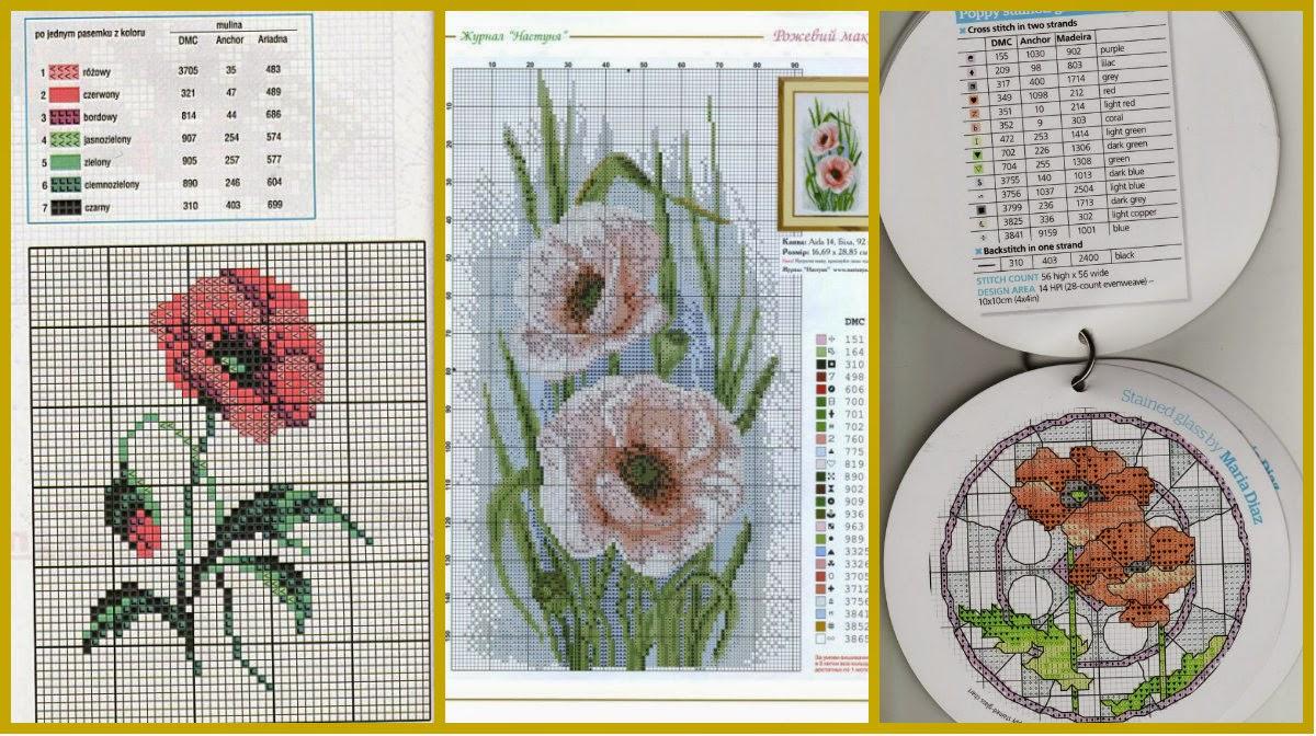 Схема вышивки крестиком один мак 972