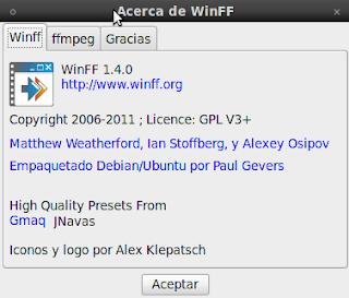 Imagen de WinFF 1.4.0 en Ubuntu 10.04