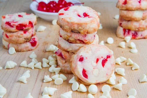 Chocolate Cherry Shortbread Cookies