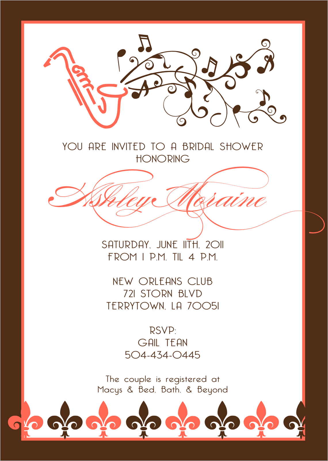 Signatures By Sarah Jazz Bridal Shower Invite For Tiffany
