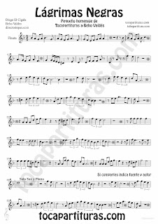 Tubescore Black Tears Sheet music for Flute and Recorder Lagrimas Negras by Bebo valdes Bolero music score