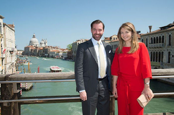 Crown Prince Guillaume of Luxembourg and Crown Princess Stéphanie of Luxembourg attend the opening of the Luxembourg pavilion (Paradise of Luxembourg)