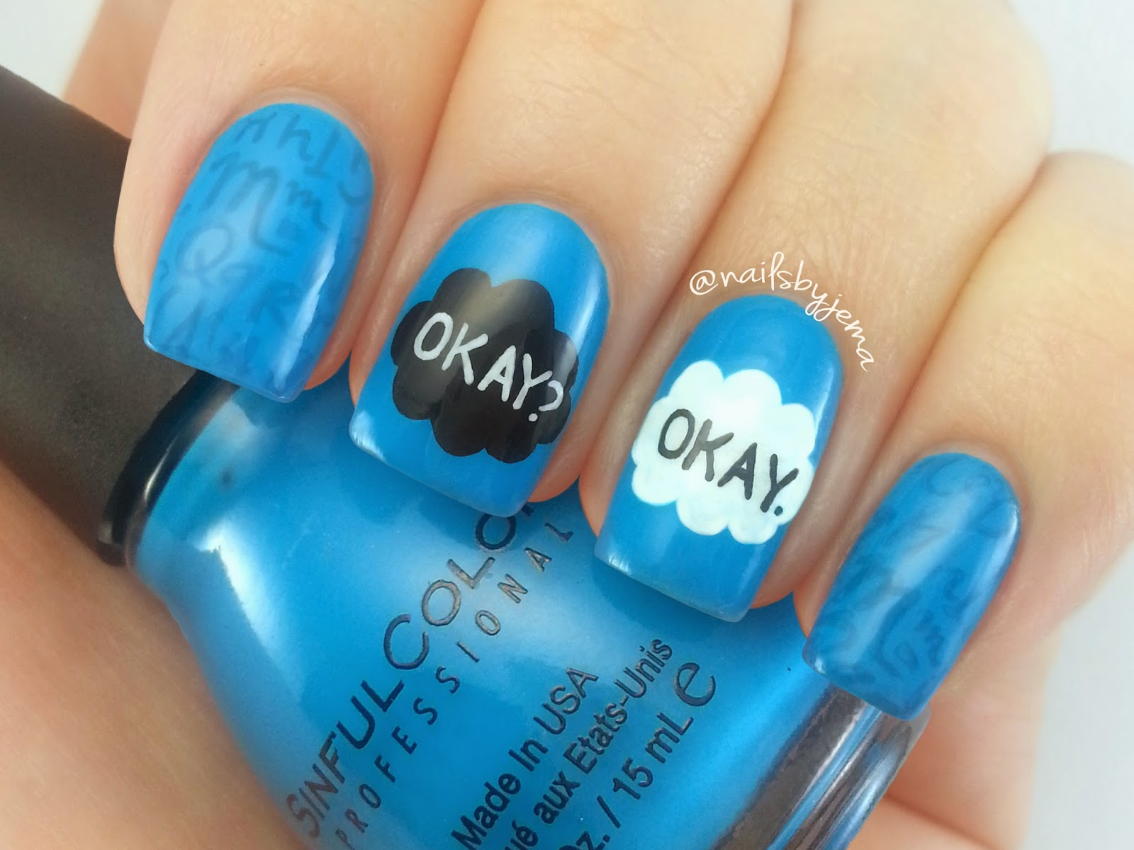 Book Cover Nail Art : N a i l s b y j e m the fault in our stars nail art