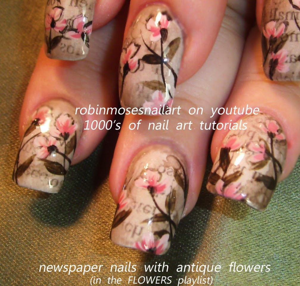 Robin moses nail art geisha nail art geisha nails newspaper antique newspaper nails with red flowers prinsesfo Image collections
