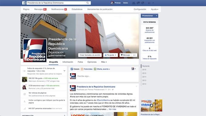 Página oficial en facebook de presidencia en RD la más activa del mundo en 2015