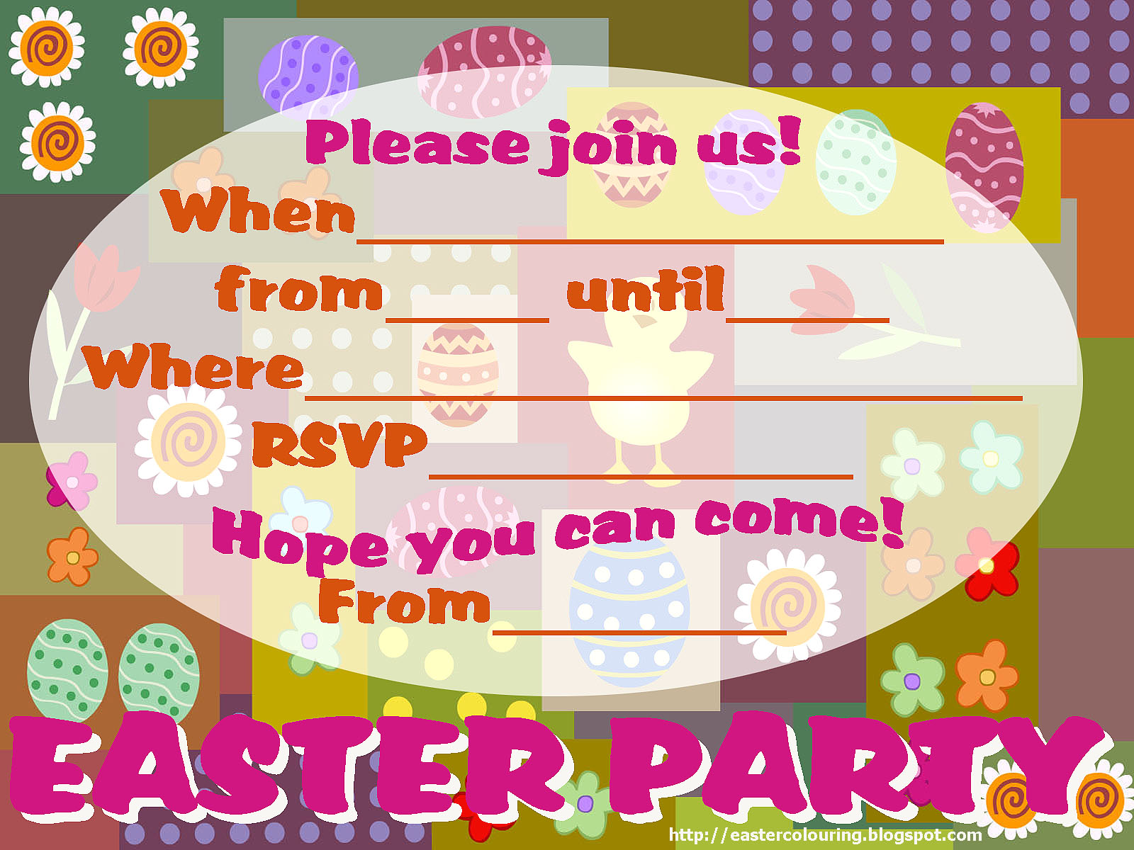 EASTER COLOURING FREE FILL IN THE BLANKS EASTER PARTY INVITATIONS