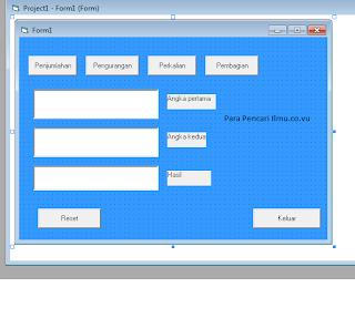 Membuat kalkulator dengan Microsoft Visual Basic 6.