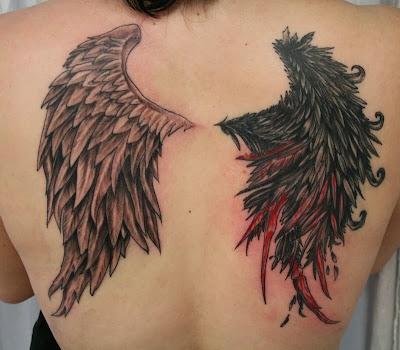 Tatuagem de Asas de Anjo e Anjo Caído nas Costas