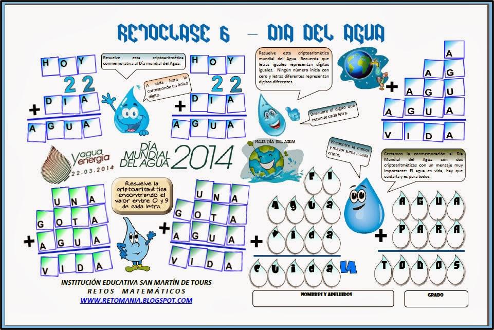 Criptoaritmética, Alfamética, Desafíos matemáticos, Problemas matemáticos, Problemas de lógica, Problemas de Ingenio, Día Mundial del Agua, Agua