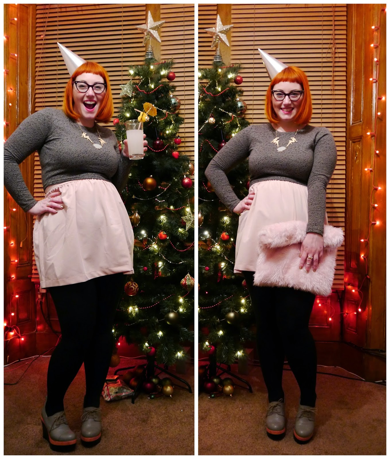 Outfit, party outfit, new years eve, hogmanay, ninties style, 90's style outfit,Wear Eponymous crop top, Wear Eponymous skirt, Wear Eponymous Outfit, Karen Mabon necklace, Party hat, pink faux fur clutch bag, platform shoes, Scottish bloggers, retro hogmanay, Christmas tree, festive style