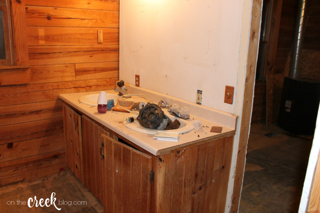 Cabin Bathroom Before