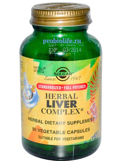 СОЛГАР (Solgar), Травяной Комплекс для Печени (Herbal Liver Complex), 50 вегетарианских капсул, цена $16.5