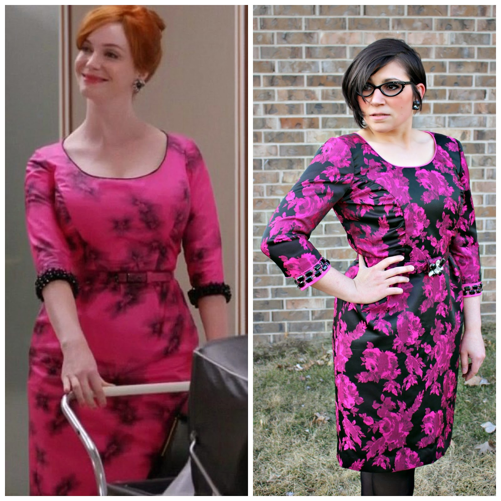 Sew Melodic : Joan in Shocking Pink Mad Men Dress Challenge 3