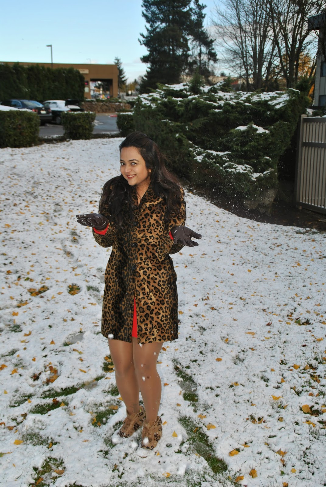 Leopard printed coats, Designer leopard printed jacket, Fashionable leopard prints, Indian Lady with a leopard printed jacket, Seattle winter fashion, beautiful girl in snow