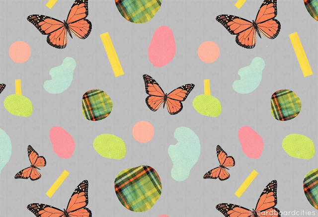 butterfly collaged pattern by laura redburn