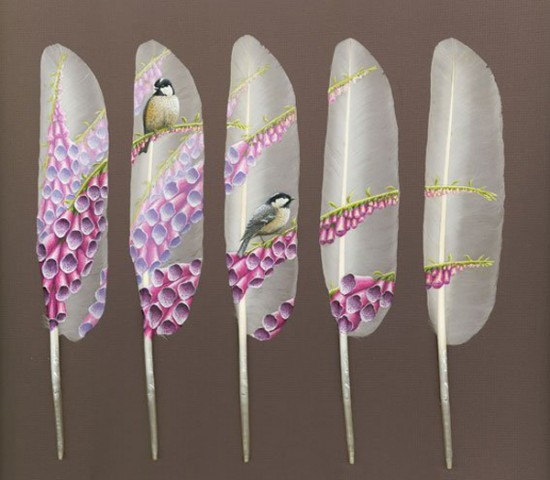 Master piece of painting on swan feathers for Painting feathers on canvas