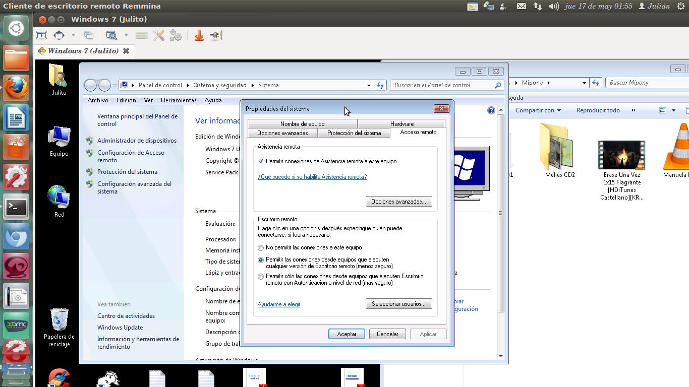 Es facilito conectar ubuntu con windows 7 a trav s de escritorio remoto - Escritorio remoto ...