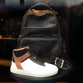 The Frye Company Owen High sneakers and Chris leather backpack