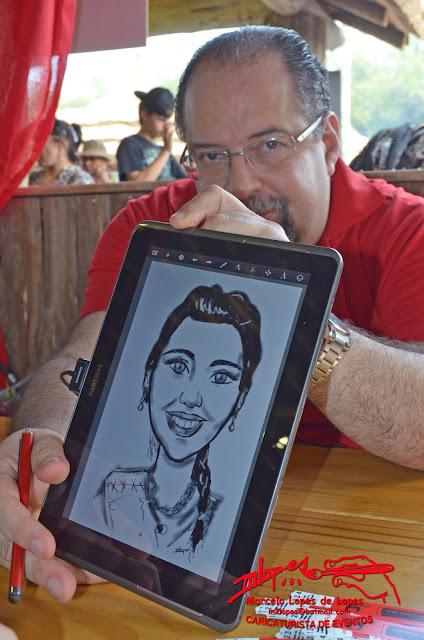 Caricaturas com tablet - Caricaturista Marcelo Lopes de Lopes