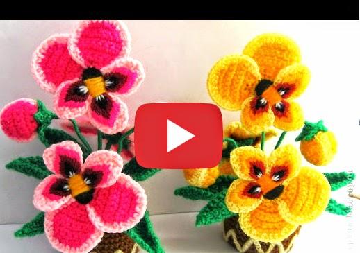 Como tejer flores pensamientos al crochet paso a paso - Hacer flores de ganchillo ...