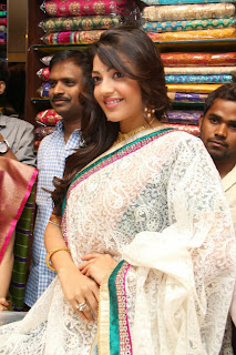 Actress Kajal Agarwal Pictures in Designer Saree at The Chennai Shopping Mall Launch  0031