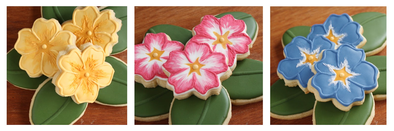 iced sugar cookies that look like primrose flowers