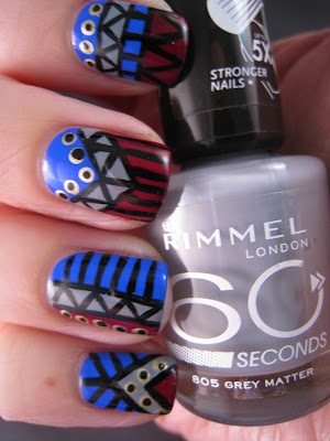 Tribal-nail-art-blue-grey-red-gold-Rimmel-Grey-Matter