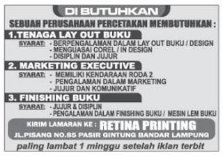 Karir Kerja RETINA PRINTING Lampung