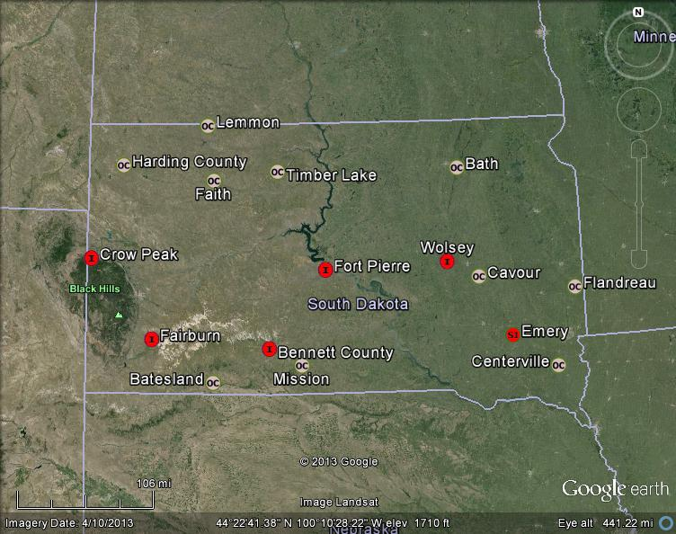 Meteorite Maps and Impact Craters - Worldwide: South Dakota ...