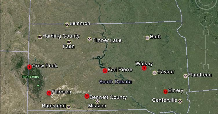Meteorite Maps And Impact Craters Worldwide South Dakota Meteorites Map