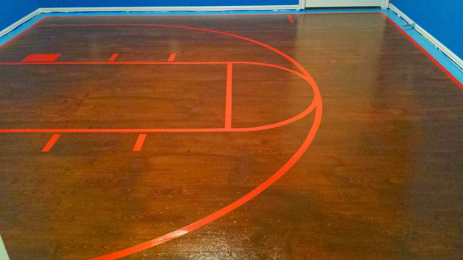 Basketball Court Lines on Painted Plywood Floor, Lower Angle
