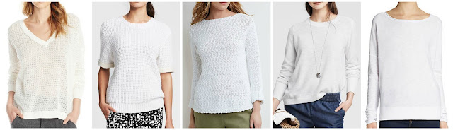 French Connection Roman Stripe Pointelle Sweater $25.15 (regular $98.00)  Banana Republic Faux Leather Trim Pullover $29.99 (regular $89.50) extra 40% off with code BRINSTANT through 7/23  J. Jill Easy Cotton Slub Pullover $29.99 (regular $89.00)  Banana Republic Textured Cross Back Pullover $44.99 (regular $69.50) extra 40% off with code BRINSTANT through 7/23  Vince Slub Cotton Sweater $49.99 (regular $135.00) alternate link