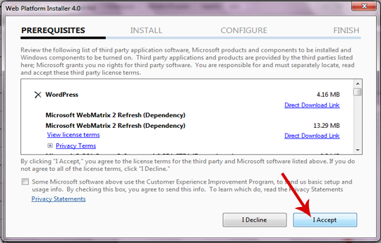 Accepting the Terms of Microsoft Platform Installer 4.0