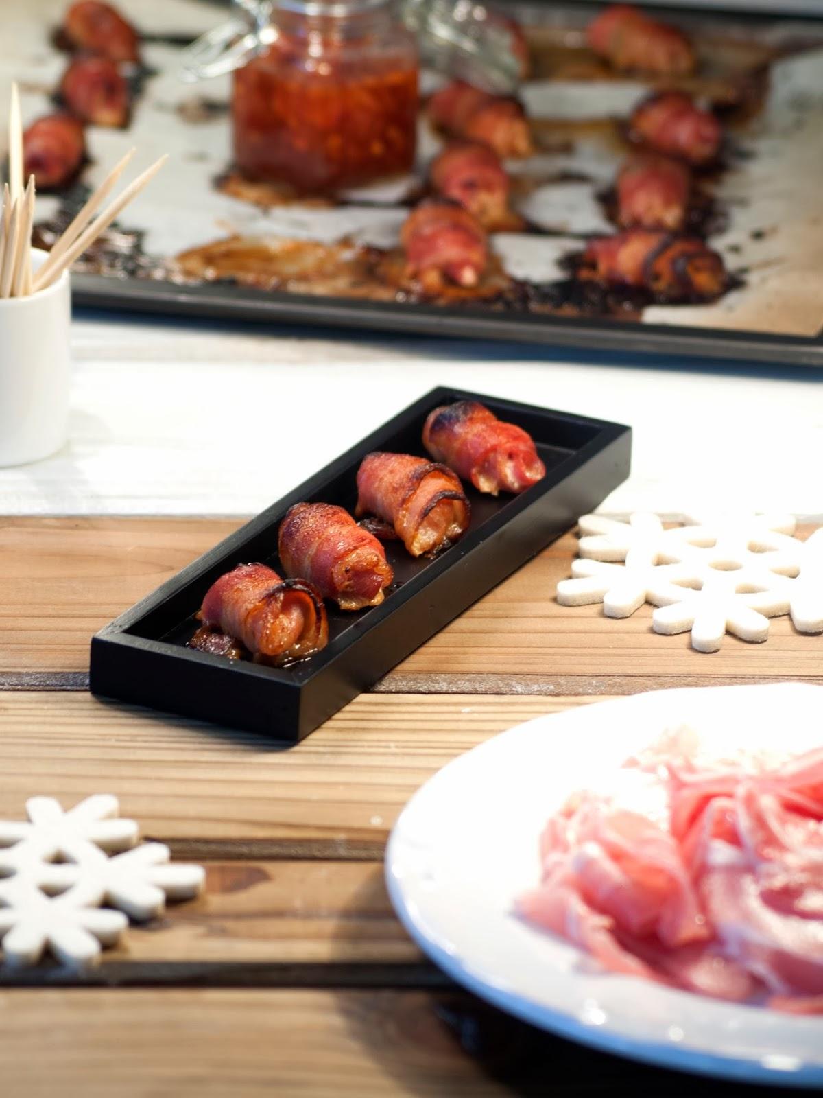 Amuse-bouches de bacon fourrés aux moules, champignons et à l'échalote, amuse bouche, amuses bouches, recette bacon