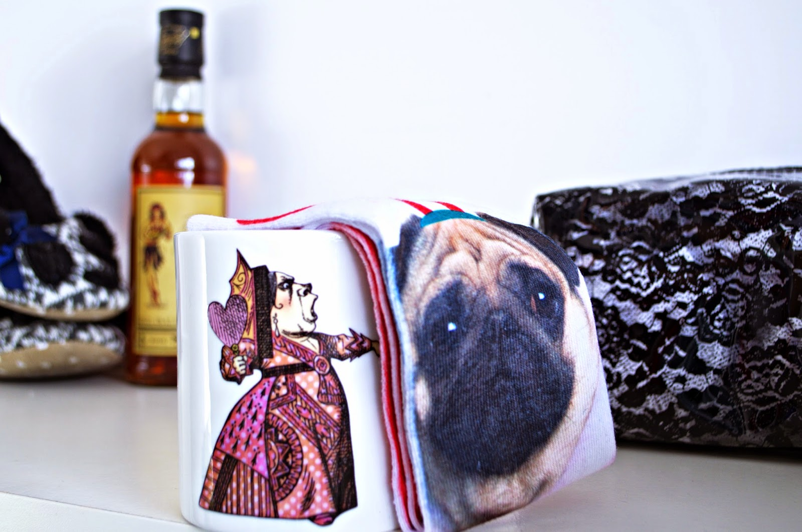 Alice in Wonderland mug, Primark Christmas Pug Socks, slippers, Sailor Jerry's Spiced Rum, lace make-up bag. Christmas Gift Ideas.