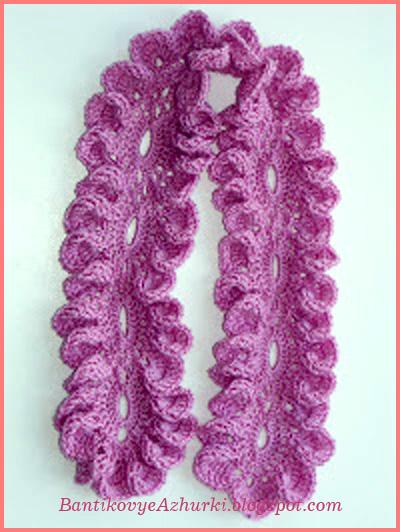 Схема вязания ажурного шарфика