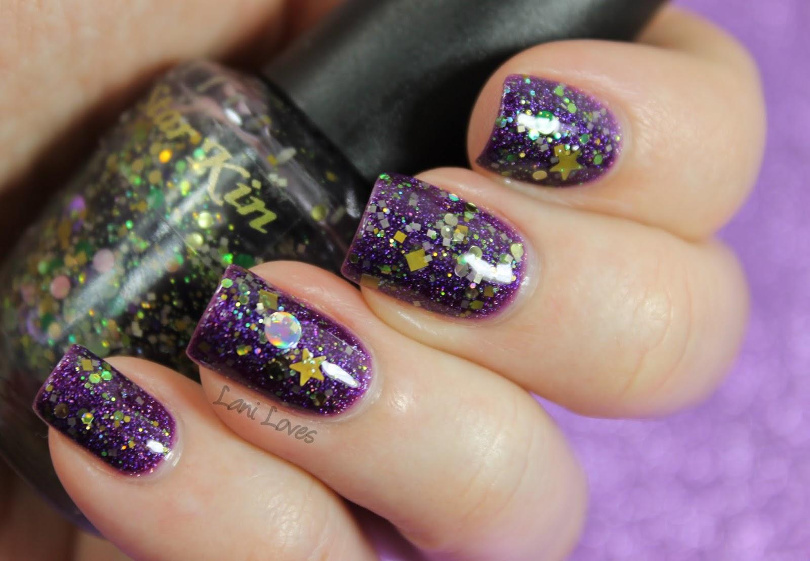 LA Girl Hologram Effect Purple Effect & Star Kin Eva nail polish swatch