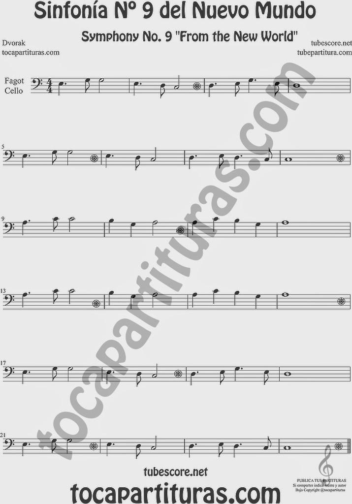 Sinfonía del Nuevo Mundo Partitura de Violonchelo y Fagot Sheet Music for Cello and Bassoon 9º Simphony From the New World Music Scores