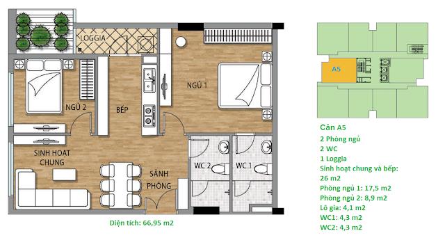 Căn hộ A5 diện tích 66,95 m2 tầng 3 Valencia Garden