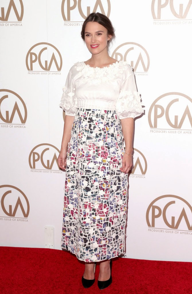 Keira Knightley in a smock dress at the 2015 Producers Guild of America Awards in LA