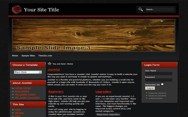 Free Wooden Red Black Joomla Theme Template