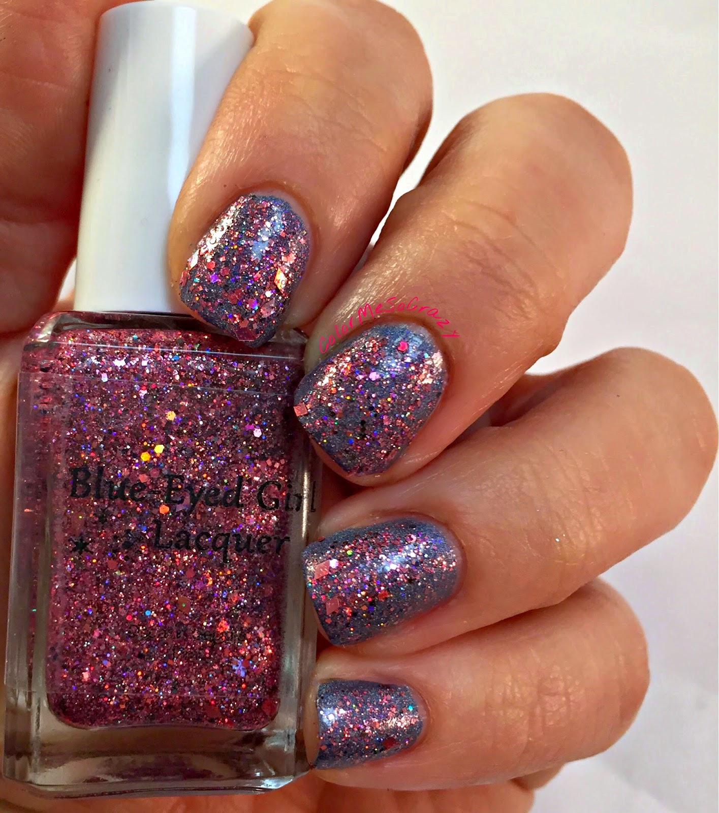 begl, blue eyed girl lacquer, nail polish, pink, spark in the dark, Couting down until I see you, pink glitter indie polish, hypothermia