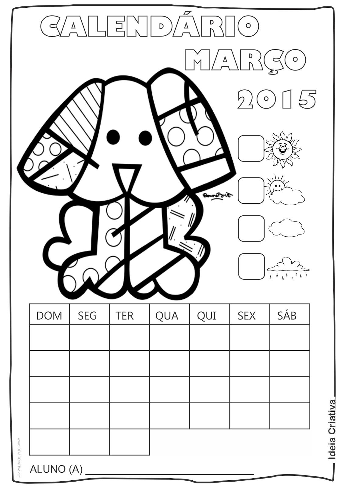 Calendário Abril 2015 com Desenho Cãozinho de Romero Britto para Colorir Sem Numeração