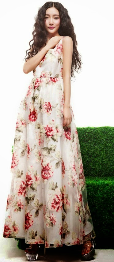 Sleeveless Red Rose Print Lace Chiffon Maxi