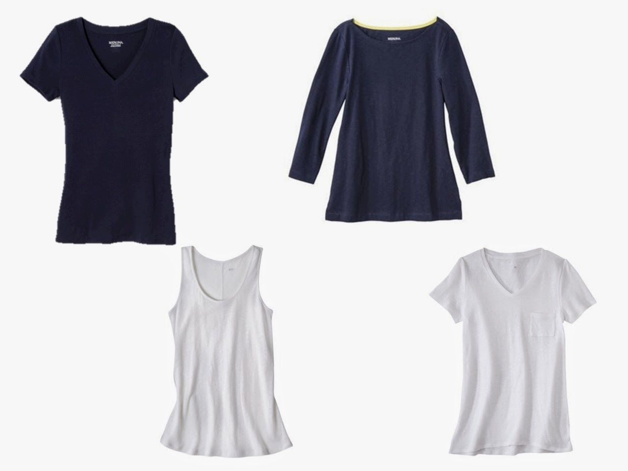 two navy tops and two white tops from Target for a navy and beige wardrobe